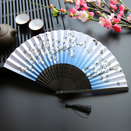 819bb8219 500pcs Women Folding Fans Cherry Blossoms Bamboo Hand Fan Silk Fan Tabletop  Decor Arts And Crafts Free Shiping