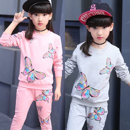sportswear for girls UK - Girls suit 2020 babies' printed fashion two-piece suit for medium and large children fashionable sportswear fashionable sportswear