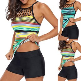 $enCountryForm.capitalKeyWord Australia - Summer Women Tankini Sets With Black Shorts Ladies Plus Size 3XL Boho Printed High Neck Bikini Set Swimwear Padded Bra Swimsuit