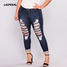13b6f82ae33 LASPERAL Jeans Women High Waist Women Ripped Holes Washed Jeans Skinny  Pencil Blue Denim Pants Women's Big Hip PLUS SIZE 7XL