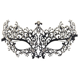 white masquerade masks UK - Rhinestones Metal Luxury Venetian Laser Cut Masquerade Filigree Mask (Black White Stones)