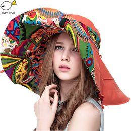 Flat Hats For Women Australia - Sun Hats ! Hats Sun Hats For Women Summer Large Beach Hat Flower printed wide brim C18122501