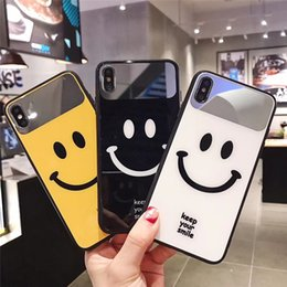 shell makeup mirror 2021 - 50pcs lot Apply RedRed for iphone Xs Makeup Mirror Glass Shell Smile Face iPhone 7plus Wavepoint Max Couple Cell Shell