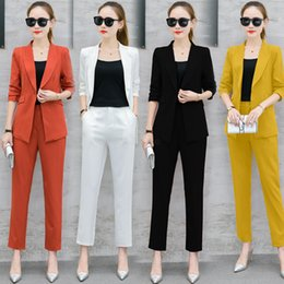 Wholesale Office Lady Business Suit Solid Color Pieces Set Women Suit Blazer Coat Pants Jacket and Trouser Suits LJJA2639