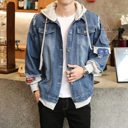 Discount fake branded clothing - Zogaa 2019 Fashion Spring Autumn Tide Brand Men's Denim Jacket Men's Jacket Fake Two Pieces Youth Handsome Loo