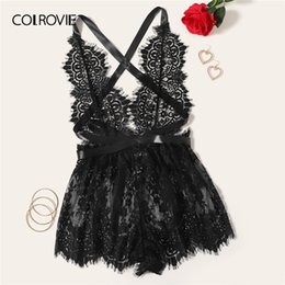 black teddy lingerie NZ - COLROVIE Ladies Floral Cross Bodysuit Black Backless Y200425 Criss Women 2019 Sleepwear Lingerie Nightwear Sexy Romper Lace Teddies Cpgod