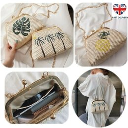 bag shells Australia - Womens Summer Boho Embroidery Straw Shell Clutch Bag Embroidery Two-tone Clip Beach Crossbody Bags Handbag Messenger Shoulderbag Satchel