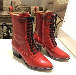 ladies motorcycles leather Australia - Hot Sale-Martin boot lady pointy lace-up high heel ankle boot leather chunky heel ankle side zipper mid-leg motorcycle boot