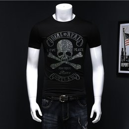 $enCountryForm.capitalKeyWord Australia - New Skull Hot Diamond T-shirt Multi-color 100% Cotton Short-sleeved T-shirt Men's High Quality Rhinestone Shirt European Size