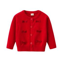 3bed944f22b Primavera otoño niñas suéter Cardigan para bebé infantil cálido suéteres  abrigo manga larga arco lindo niñas bebés de punto chaqueta BC526