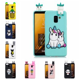 panda covers Australia - For Samsung Galaxy A8 2018 Case Cover Pasted 3D Funny Panda Dog Cat Pineapple Sticking a Little Silicon Doll 61 Models Option
