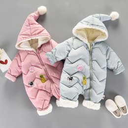 neonatal clothing NZ - New Style Winter Baby Romper Cartoon Decoration Hooded Cotton Rompers Neonatal Climbing Clothes Made by Cotton Pink Blue