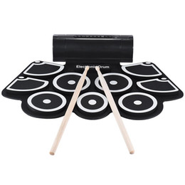 $enCountryForm.capitalKeyWord UK - Portable Electronic Roll Up Drum Pad Set 9 Silicon Pads Built-In Speakers With Drumsticks Foot Pedals Usb 3.5Mm Audio Cable Uk