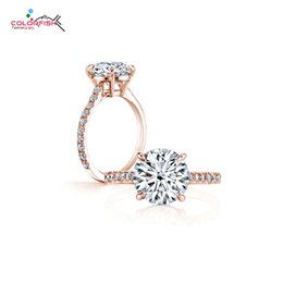 $enCountryForm.capitalKeyWord Australia - ings for women COLORFISH Classic Four Prong 3 ct Round Brilliant Cut Engagement Solitaire Ring Sterling Silver Rose Gold Filled Rings For...