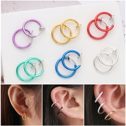 fake nose earrings 2019 - Unisex 2Pcs Set Fake Nose Ring Goth Punk Lip Ear Nose Clip On Fake Septum Non Piercing Ring Hoop Lip Hoop Rings Earrings