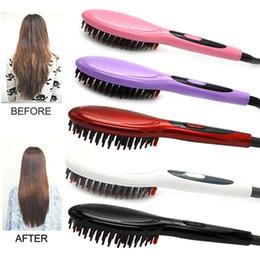 Red Straightening Irons Australia - Electric hair straightener brush Hair Care Styling Comb Auto Massager Straightening Irons SimplyFast Hair iron