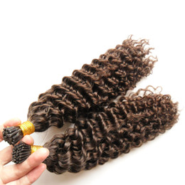 wholesale fusion human hair extensions Australia - Hot sales Kinky Curly Stick I TIP Remy Human Hair Extensions 200s Virgin Peruvian Kinky Curly Pre Bonded Keratin fusion Stick I TIP Hair