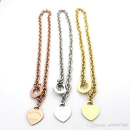 Pendant Jewerly Australia - famous brand jewerly 316L titanium Steel 18K gold plated necklace short chain silver man heart necklace pendant for women couple gift