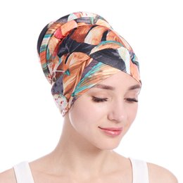$enCountryForm.capitalKeyWord Australia - Muslim Women Print Cotton Sponge Cross Flower Turban Hat Cancer Chemotherapy Chemo Beanies Caps Headwrap Hair Loss Cover Accessories