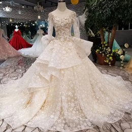 Wedding Dresses Flowered Embroidery Australia - Luxurious Wedding Dresses Floral Appliques Sequins Embroidery Ball Gown Wedding Dresses Scoop Long Sleeves Ruffles Tiers Bridal Gowns