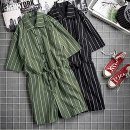 Jumpsuit Men Xs Australia - 2019 Fashion Men Jumpsuit Striped Rompers Shortsleeve Pockets Loose Pants Hip-hop Playsuit Overalls Men Streetwear S-5XL INCERUN