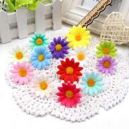 sunflower bouquets NZ - 10pcs lot 4cm Gift Artificial Mini Coloth Sunflower Bouquet flowers for wedding car Marriage room party decoration scrapbooking