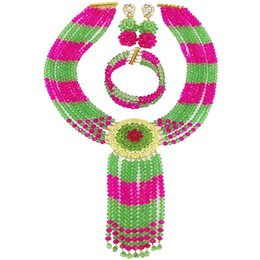 $enCountryForm.capitalKeyWord Australia - Fuchsia Pink Light Green Crystal Necklace African Wedding Beads Nigerian Jewelry Set for Women 6CXLS06