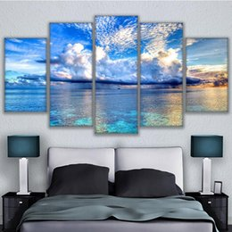 painting clouds Australia - Printed Modular Picture Large Canvas 5 Panel Sea Landscape Painting For Bedroom Living Room Home Clouds Wall Art Decor
