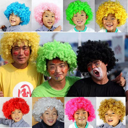 Festival wigs online shopping - Clown Wigs Synthetic Wig Colorful Soccer Fans Wigs Costume Circus Curly Party Wig Festival Holiday Funny Wig Short Curly Hair Wigs