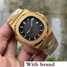 golden color watches Canada - New Luxury Watch Gray Dial Asia 2813 Movement 40mm 5711 1A 5711 Mechanical Transparent Golden Steel Automatic Mens Watches Wristwatches