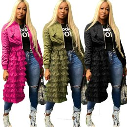 wholesale army clothes 2019 - women winter clothing jacket ruffles sheer coat with long mesh dress zipper outerwear with skirt lady designer clothes s