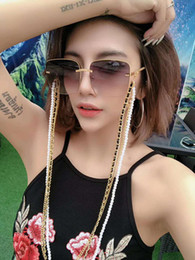 SunglaSSeS chained online shopping - Hotsale luxury designer sunglasses anti slip chain metal artificial pearl leather rope string neck cord retainer silicon loop