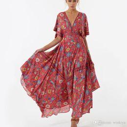 213551dda18 2017 Casual Long Flower Dress Retro Bohemian Maxi Dress Sexy Ethnic Deep  V-neck Floral Print Beach Dresses Boho Hippie Robe