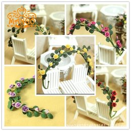 vine glass UK - 1: 12 Dollhouse Dollhouse Mini Plant Clay Handmade Flower Vine Rose China Rose String Enchanting Multi-color
