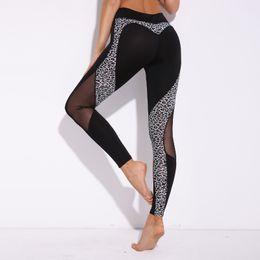 Sexy Yoga Pants Dance Australia - Women Yoga Pants Gym Sport Leggings Leopard 3D Print Heart Mesh Patchwork Dance Tights Sexy Capris Running Trouser Slim Jeggings #157211