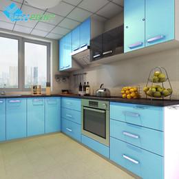 Decorative Paper Rolls Australia - 60cmX3m Kitchen Cabinet Renovation Stickers Blue DIY Decorative Film Glossy PVC Self adhesive Wallpapers Roll Waterproof Paper