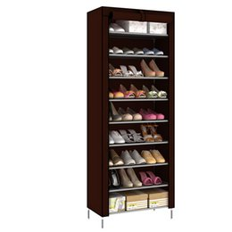 shoe storage diy Canada - 10 Layers Combination Shoe Cabinet Simple Cloth Non woven Fabric Storage Shoes Rack Folding Dust proof Shoe Shelf DIY Furniture