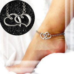 simple silver foot chain NZ - 2017 New Arrival Double Heart Anklets Simple Silver Chain Anklet Bracelet on Leg Fashion Beach Anklets for Women Foot Jewelry #5