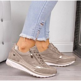 Discount men cloth sneakers Women Sneaker Autumn Lace Up Vulcanized Shoes Woman Casual Platform Female Sequined Cloth Shoes Ladies Flat Footwear