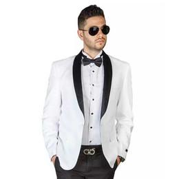 One Piece Pants Suits NZ - Slim Fit Men Suits for Wedding Groom Tuxedo Man Prom Suit Black Shawl Lapel Custom Made Bridegroom Jacket 2 Pieces (Coat+Pants)Costume Homme