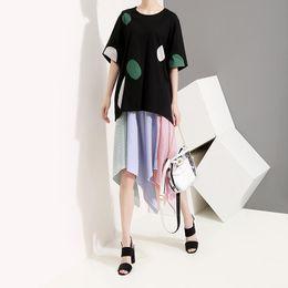 $enCountryForm.capitalKeyWord Australia - 2019 Korean Style Women Black Summer Tee Top Dotted Oversize Half Sleeve Female Unique Wear Casual T-shirt Tee Shirt Femme F308