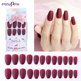 Nail acrylic 24 online shopping - 24 Set Frosted Matte Reusable False Nails Color Mixed Size Designs Full Nail Tips Press On Fake Nail Ballet Manicure Tools