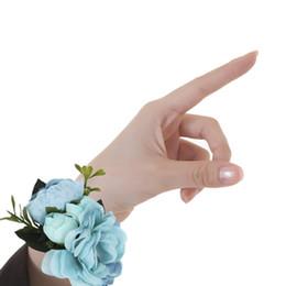 Handgelenk Corsage Open Rose Ribbon Stretch Armband Hochzeit Prom Handgelenk Corsage Hand Blume Romantische Hochzeit Braut Armband Blume