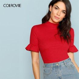 8ae4c90b4d COLROVIE Neon Red Stand Collar Ruffle Cuff Rib Knit Elegant Women T Shirt  2019 Summer Green Slim Basic Tee Orange Ladies Tops
