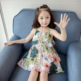 French Style Clothes Australia - Design Kids Little Girls Floral Dresses Pink Ruffles Sleeveless Summer Square Collar Flower Blackless Printing Child Students Clothing 3-8T