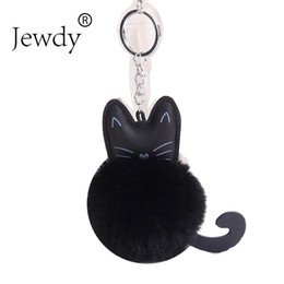 keying chain UK - Cat Keychain Pompon Key chain Fluffy Artificial Rabbit Fur Ball Key Rings Women Bag Car Charm Pendant pom pom holder Porte clef