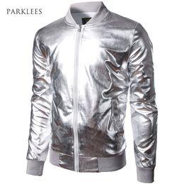 $enCountryForm.capitalKeyWord Australia - Baseball Jacket Men Boy Shiny Silver Stand Collar Bomber Jackets Casual Slim Fit Lightweight Metallic Varsity Mens Jackets XXL