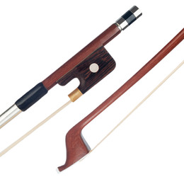 violin bow hair Australia - 1 4 French Style Brazilwood Upright Double Bass Bow White Bass Bow Hair Parisian Eyes Round Stick