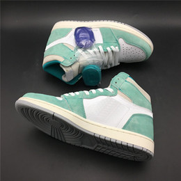 4307013bfcb4 Turbo Green Basketball Shoes 1s Upper Suede Lake Green White 2019 Designer  Mens Athletic Trainers Sneakers With Purple Shoelace
