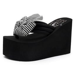 2fda18411f 35-41 Woman Sandal Slippers Bow Black Wedge Flip Flops Women Slides Shoes  High Platform Slippers Flip Flops Beach Women Mules Heels 11CM